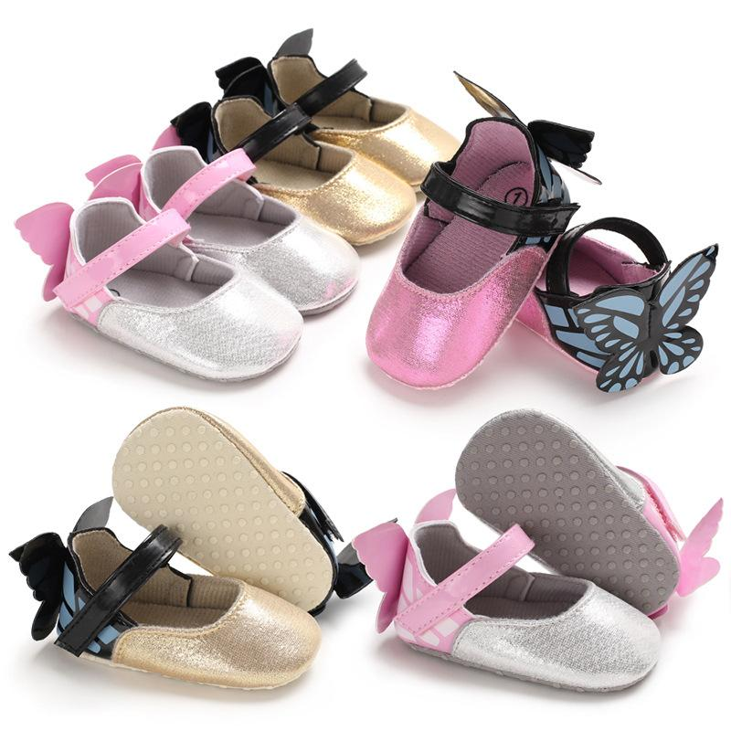 5d2de7213c0e Newborn Baby Girls Shoes PU Leather Princess Butterfly Wings Soft ...