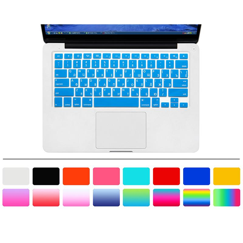 14 color U.S. Edition Russian Keyboard Film protector for Macbook Air Pro Retina 13 inch Laptop Skin Cover for Mac book Gel case