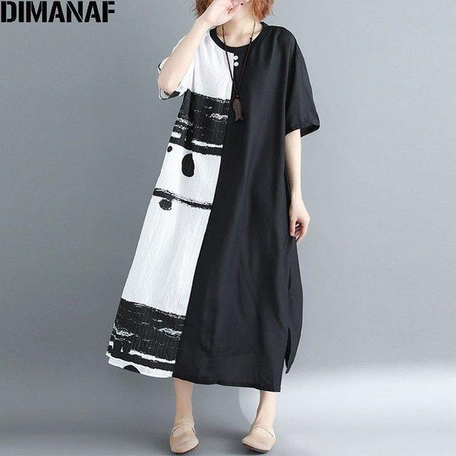 8c1bae4ba28 2019 DIMANAF Summer 2018 Women Dress Plus Size Patchwork Black White Linen  Button Female Vintage S Vestidos Oversized Long Dress Y19UD From  Zhengrui07