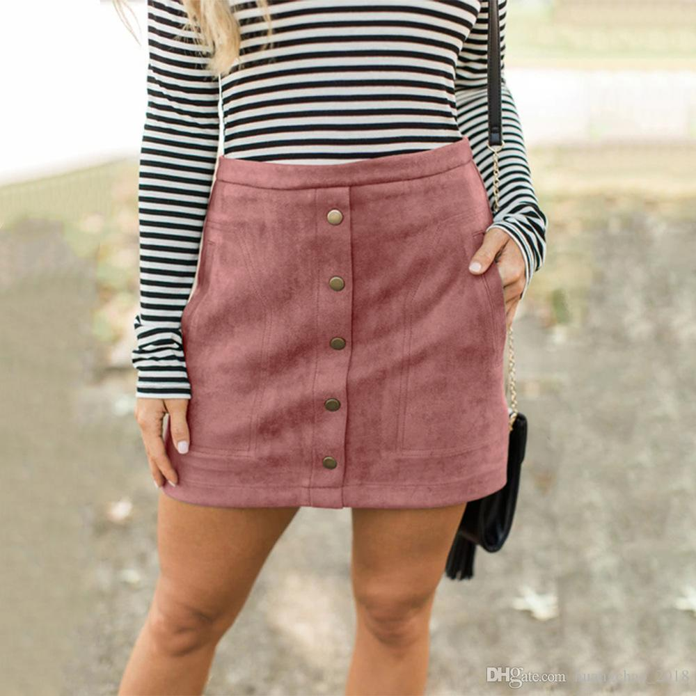 5a6f5a7fc8573 Women Skirts Autumn Plus Size Pink High Waist Pencil Skirt Mini Female  Vintage Suede Button Skirt Casual Jupe Femme Faldas Mujer