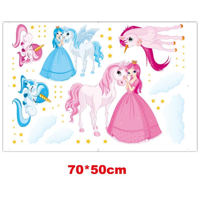Muro dos desenhos animados Mágica do unicórnio adesivos Kid quarto arte do decalque Nursery Quarto Vinyl Decoração do unicórnio Princesa Adesivo Decalque