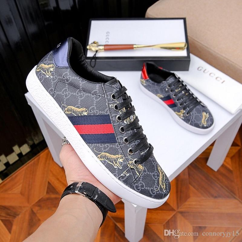 628c566aa 2020 Luxury Snake Designer Men Women Sneaker Casual Shoes Low Top Leather  Sneakers Ace Bee Stripes Shoe Walking Sports Ladies Shoes Moon Boots From  ...