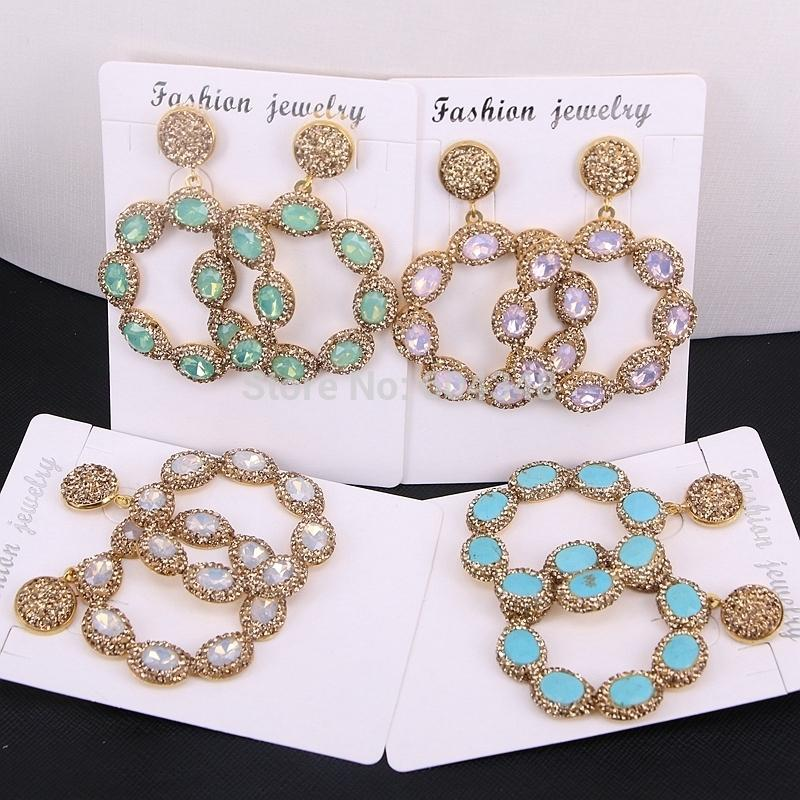5pairs Zyunz Round Flower Earrings Pave Rhinestone Cat Eye / Howlite Stone Drop Dangle Earrings Gold Color Jewelry For Women Y19050901