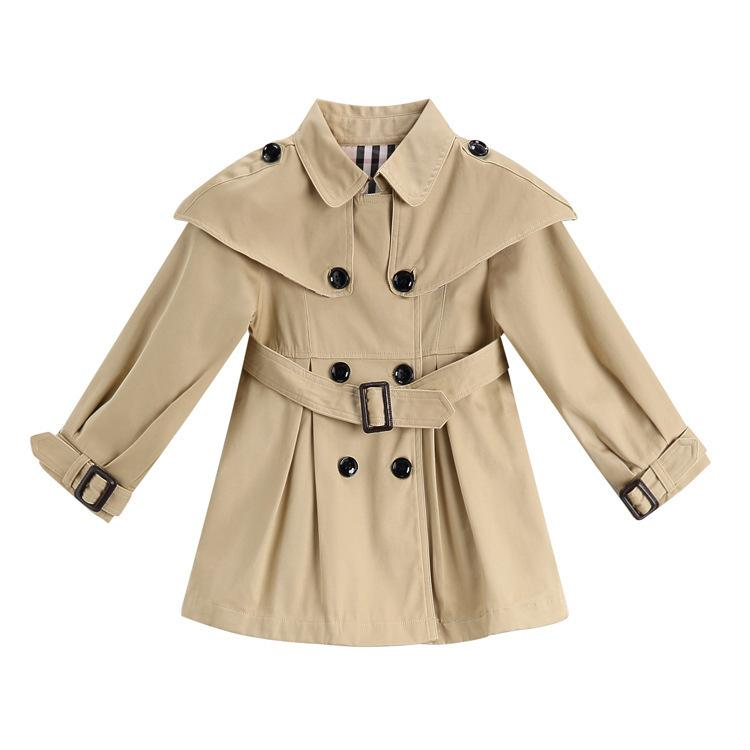 657f8317e807 Girl Loose Coat Double Row Buckle English Wind Middle Length ...