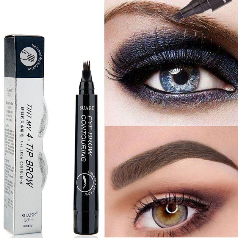 New Tattoo Eyebrow Pencils 4 Fork Micro Carving Liquid Eyebrow Pen ...
