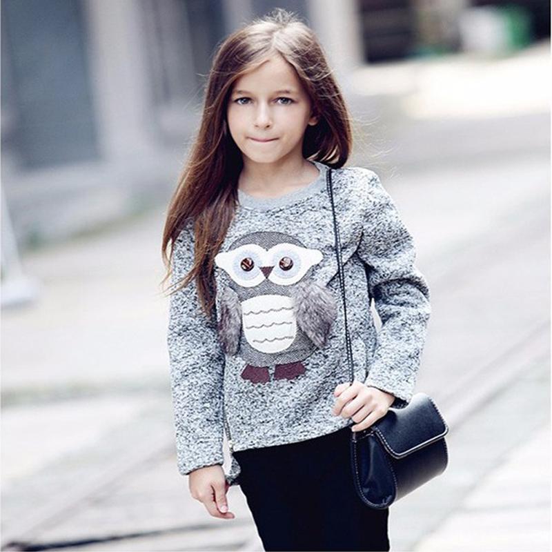 3c50b0790c72 Girls Kids Sweatshirt Cute Cartoon Owl Casual Sweater Autumn Winter ...
