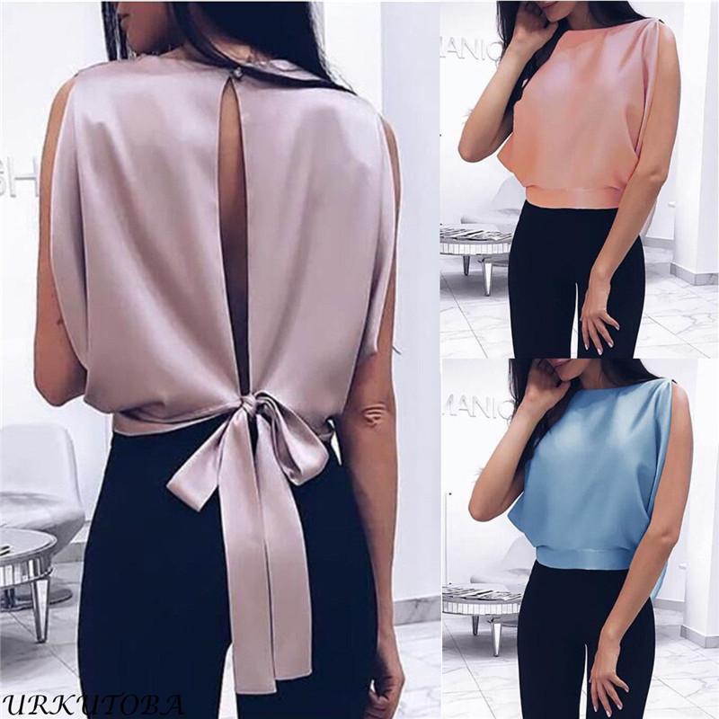 c7ef24417 Compre Mulheres Blusa 2019 Primavera Verão Sexy Tops Bowknot Camisas Casual  Plus Size Solto Blusas De Stepto2000