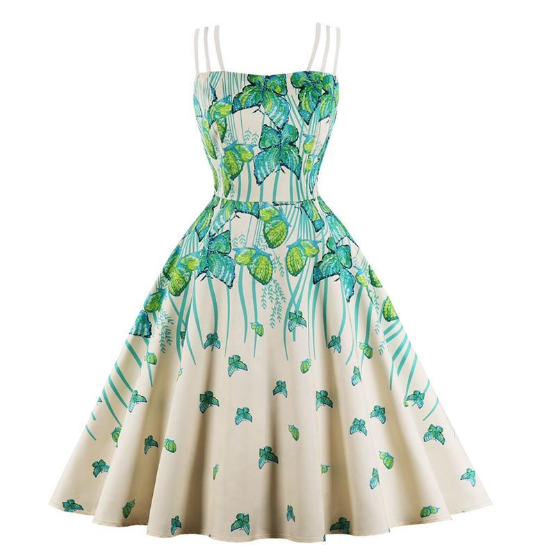 6c4852286f 2019 New 50S Retro Hepburn Style Strap Boob Tube Top Asymmetric Butterfly  Print Flare Dress Floral Dresses For Women Cocktail Dress Sale From  Stylefisher