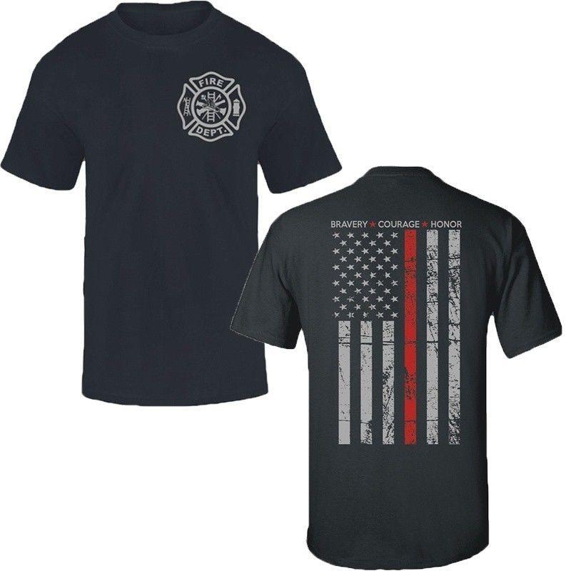 Thin Red Line Flag Firefighter Fire Department T Shirt Men Fire