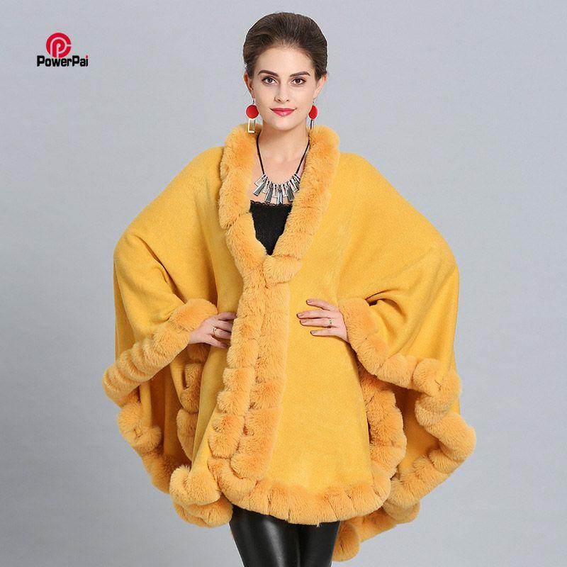 6bd35bb0ac57f 2019 New Fashion Loose Handwork Rex Rabbit Fur Cloak Coat Elegant Women  Good Faux Fur Cape Shawl Long Cashmere Wraps Overcoat Winter From Rachaw