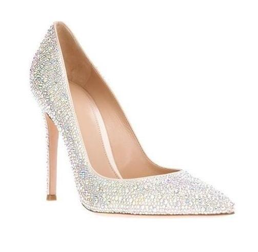 Elegant bejeweled crystal pointed toe shoes luxurious rhinestone bridal dress shoes women high quality heels