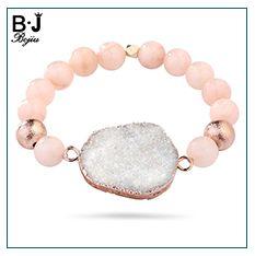 BOJIU Trendy Facetado Azul Cristal Charm Bracelets Para As Mulheres Moda Prata Hematita De Ouro De Cobre Bola de Cristal Bola Pulseira BC267