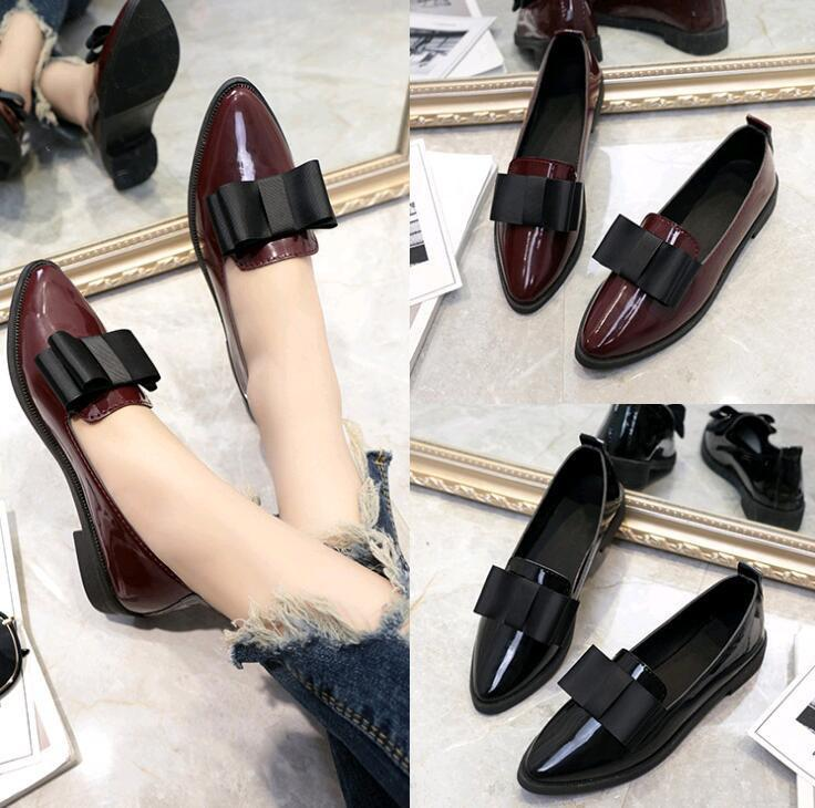 624a42717d8 Designer Dress Shoes 2019 Woman Leather Pointed Toe Bow Women Low Heel  Loafers Cowhide Spring Casual Women Nude Shoes Womens Sandals From Deals44