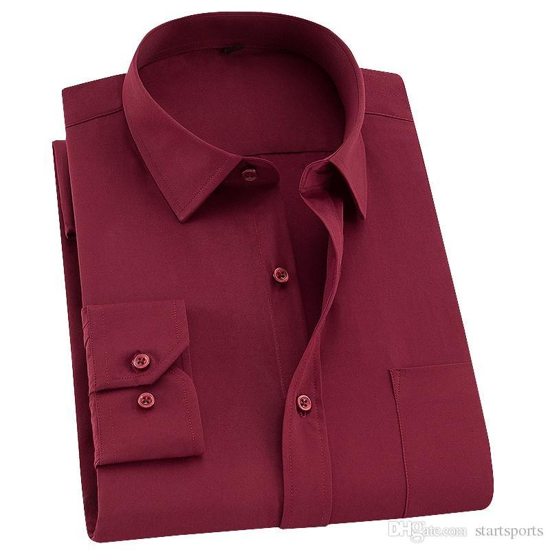 d5b9c97663 Compre Homens Da Moda Camisas Casuais Completa Manga Vermelha Camisa De  Vestido Cor Sólida Marca Masculina Tops Estilo Coreano Roupas Camisas  Masculina ...