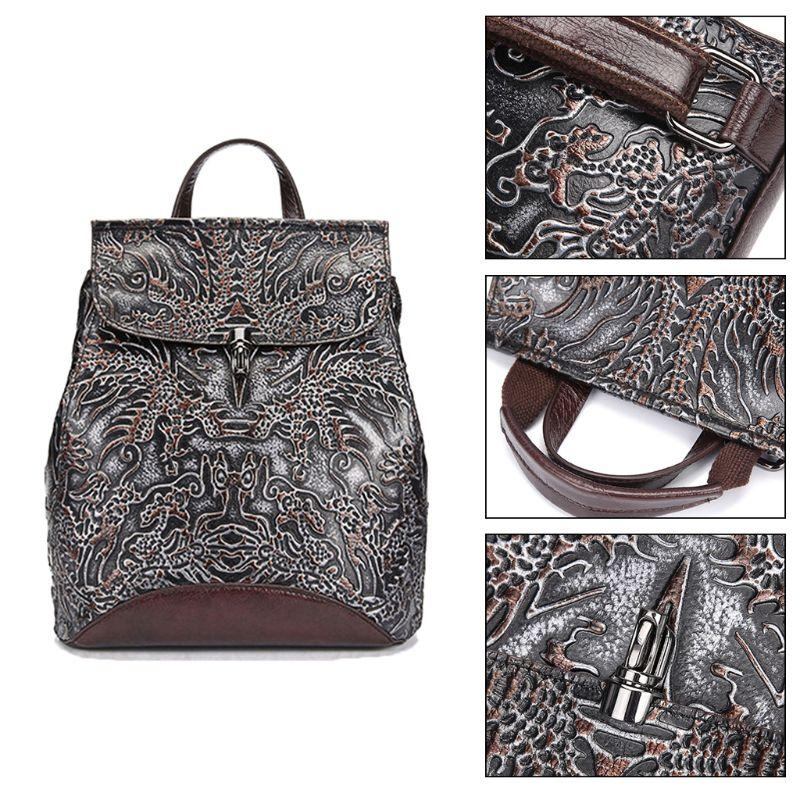 Women Genuine Leather Embossed Backpack National Style Daypack School Bag Travel Casual Rucksack