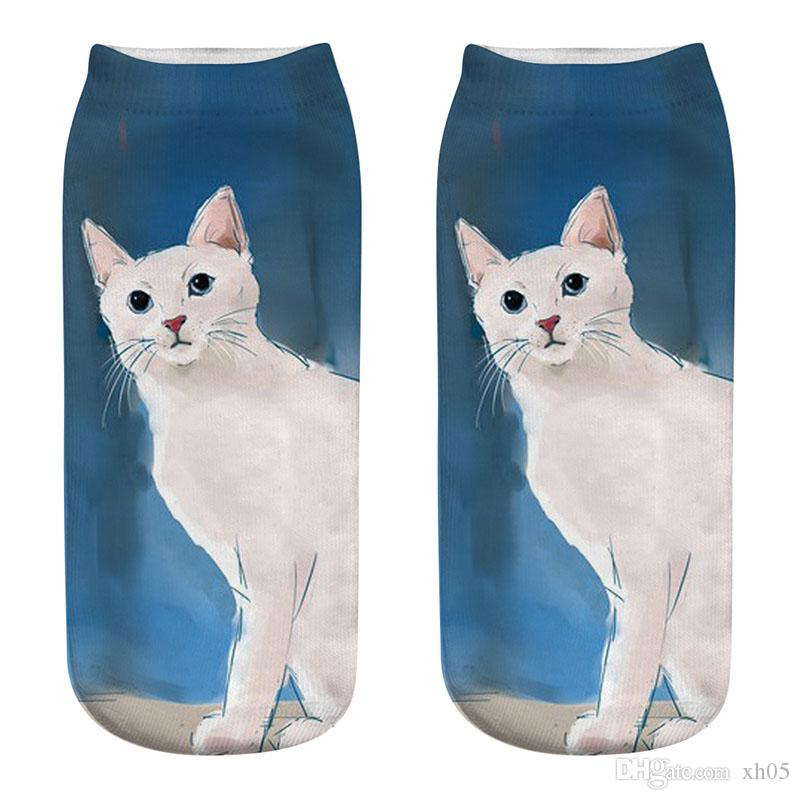 dc3818d0a95d 2019 3D Printing Women Socks Fashion Unisex Christmas Socks Cat Female Funny  Low Ankle Sock From Xh05, $22.34   DHgate.Com