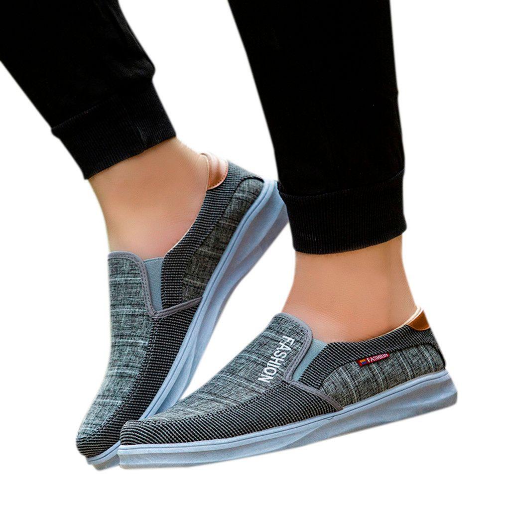 988e3f26f Compre YOUYEDIAN Zapatos De Moda Para Hombres Lienzo Exterior Zapatos Sin  Cordones Ocasionales Zapatillas De Deporte Respirables Perezosos Tenis  Masculino ...
