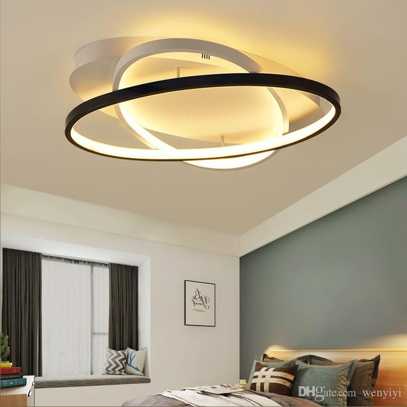 Modern Bedroom Led Ceiling Lights White/Black Living Room Kitchen Ceiling  Lamp Satellite Orbitled Remote Control Free Shipping