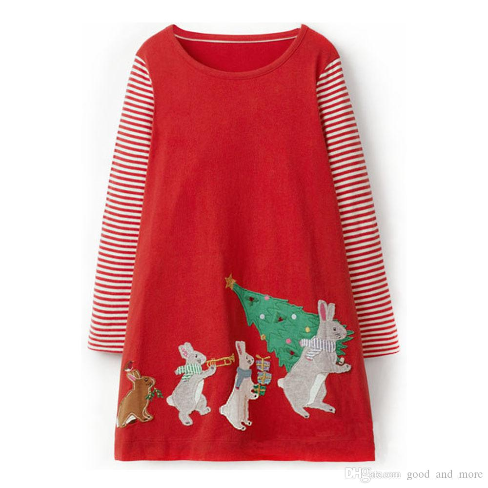 Children's Skirt Christmas New Autumn Girl 100% Cotton Long Sleeve Straight Tube Tight Cartoon Animal Printed Red Dress
