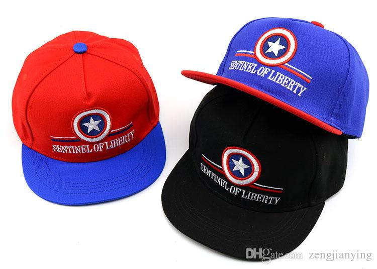 6cb45125d93b0 2019 Captain America Cartoon Kids Cap Hiphop Baseball Caps For ...