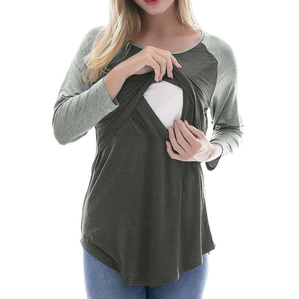 6f1a2e2ffdf 2019 Women Maternity Solid Color Splicing Pregnancy Nursing Baby Tops T  Shirt Nursing Clothing Pregnant Shirt Breast Feeding Tops From Paradise13,  ...