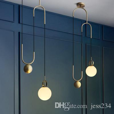 2019 Nordic Pendant Lights Globe Glass Ball Pendant Lamp Lustre Suspension  Kitchen Light Fixture E27 Home Lighting