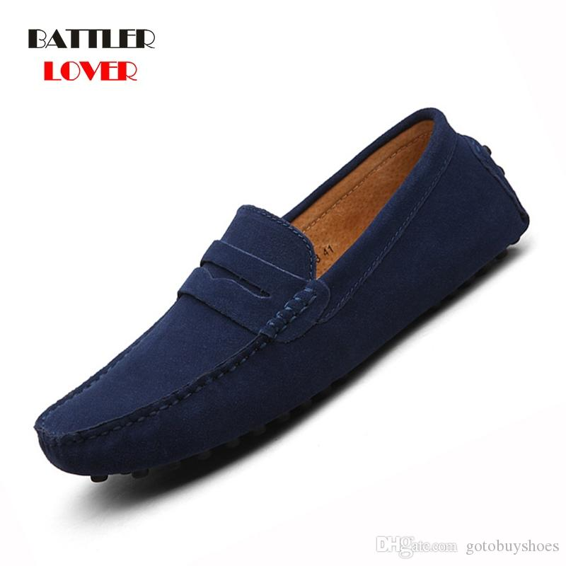 723398dd777 Shoes Men Loafers Moccasin Genuine Leather Gommino Male Footwear Slip On  Flat Driving Boat Shoes Classical Chaussure Homme 38 49  56138 Vegan Shoes  Comfort ...