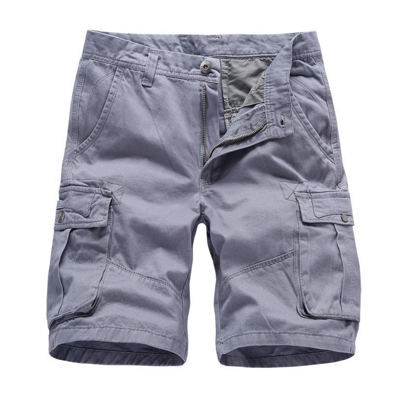 7c3c926162 Compre Pantalones Cortos De Algodón Rectos Sueltos Pantalones Cortos De  Carga Hombres Verano Casual Cremallera Fly Hombre Peto Pantalones De  Trabajo ...