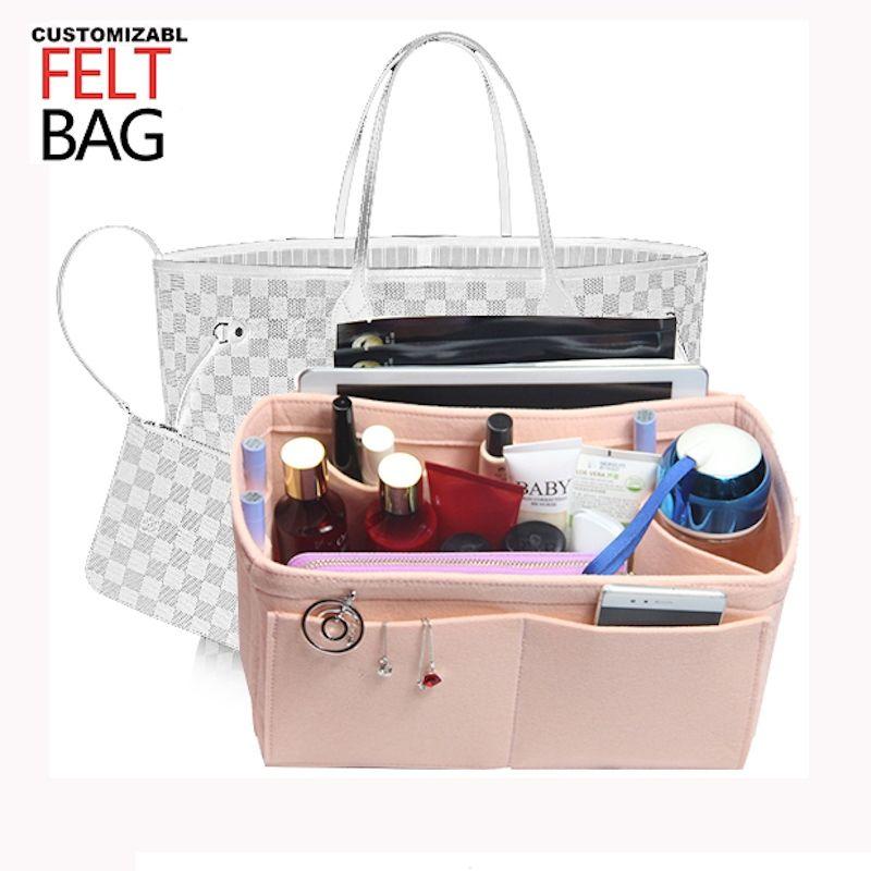 5fb764134a3d Customizable Felt Tote Organizer Bag w/Milk Water Bottle Holder)Neverfull  MM GM PM Speedy 30 25 35 40 Purse organizer Insert Bag #298910