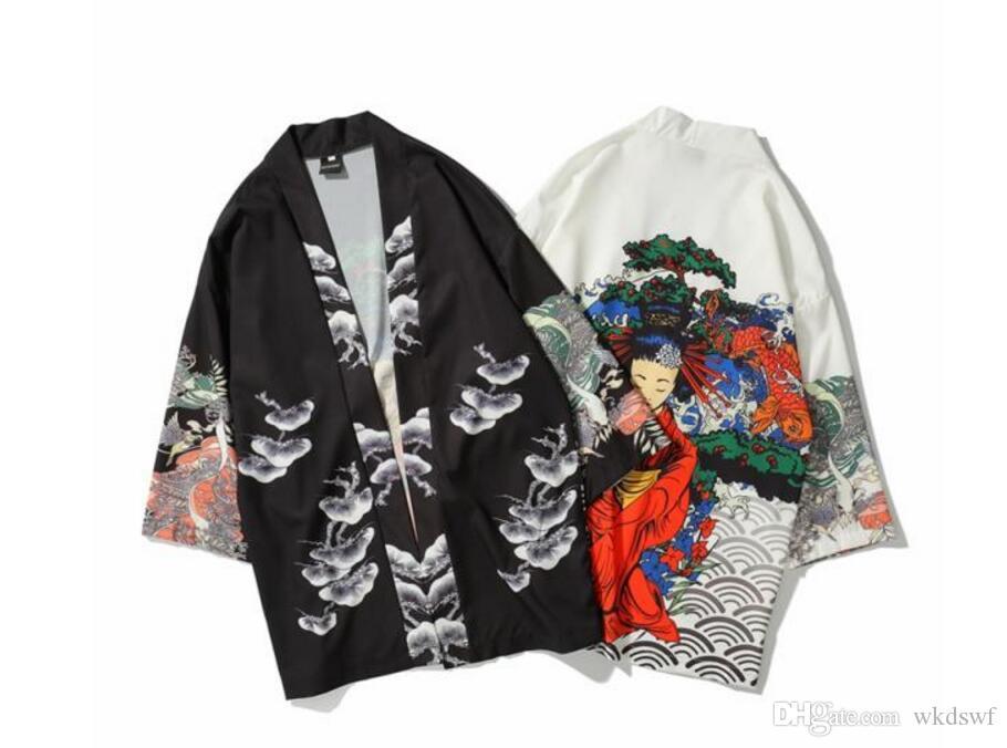6c58a1b69b1c3 Compre 2019 Nuevo Dragón Japonés Impreso Kimono Camisas Hombres Harajuku  Cardigan Camisas Hip Hop Hombre Casual Streetwear Japonés Vestir Mujeres  Negro A ...