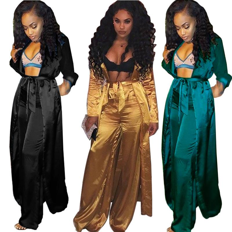 33b00c04ce4f Imitated Silk Fabric Sexy Set Women Long Sleeve Maxi Long Cardigan ...