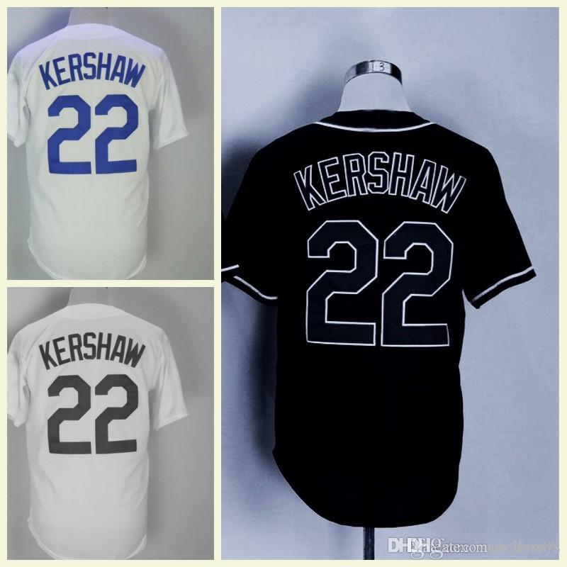new style b8785 c0901 Men s Baseball Jerseys Fashion Jersey 22 Clayton Kershaw white Black Blue  Size M-XXXL Men polo shirt