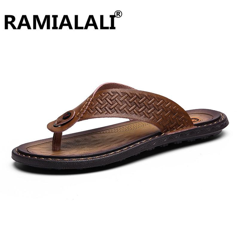 321bc480b6c New Men S Fashion Leather Flip Flops Leather Slippers Summer Beach Slippers  Men S Sandals Shoes Large Size 38 47 Purple Shoes Ladies Footwear From  Wasabiu
