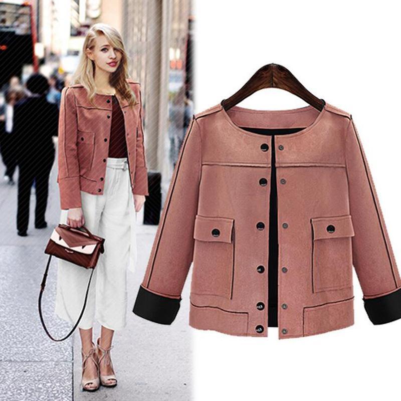 3fe1d381b 2019 spring bomber jacket women British style Women Short Jacket Fashion  Slim vintage Chamois Leather Suede jacket For Ladies