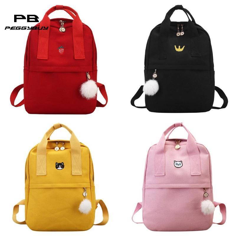 d6dd1a67dfa9 Canvas Preppy Women Girls Backpacks Teen Vintage Shoulder School Bookbags