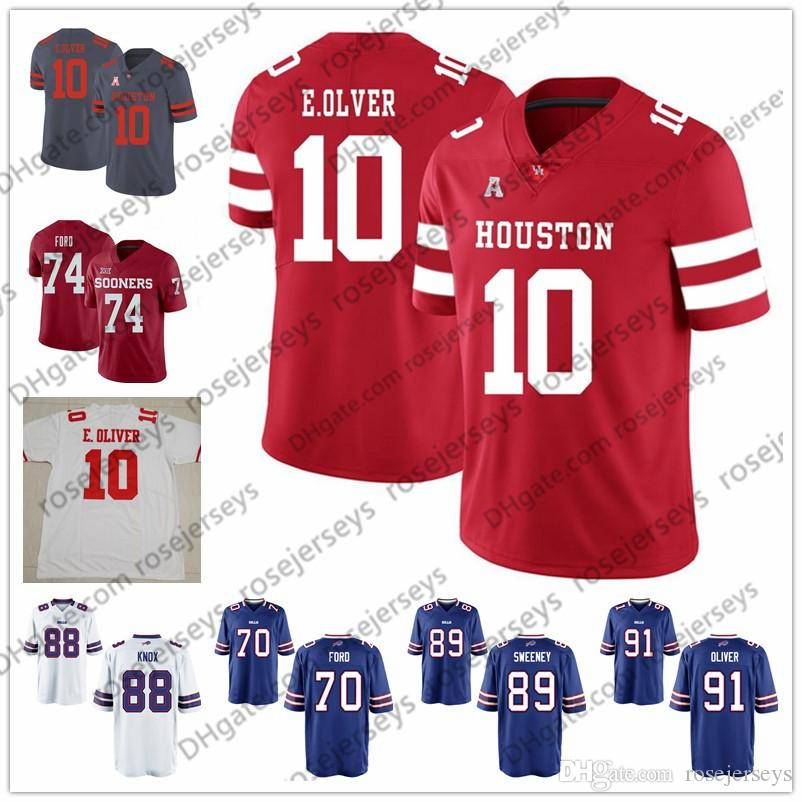 more photos 03983 6371f 2019 NCAA Oklahoma Sooners Cody Ford White Cougars Ed Oliver Devin  Singletary Dawson Knox Tommy Sweeney Red Rush Blue Football Jersey