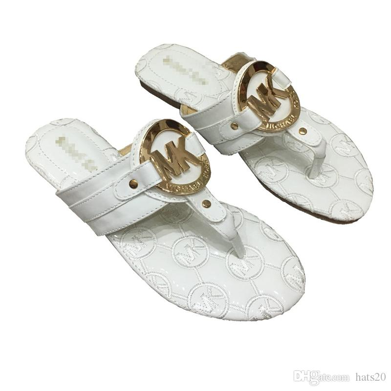 Fashion Women's Sandals with Metal Logo Brand Flip Flops for Summer Outdoor Delicate Slippers for Women