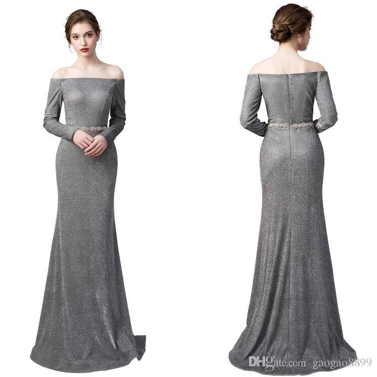 2019 New real In Stock mermaid evening dress Special Occasion Dresses Beaded Bateau long sleeves Prom Party Pageant Cheap Gowns custom made