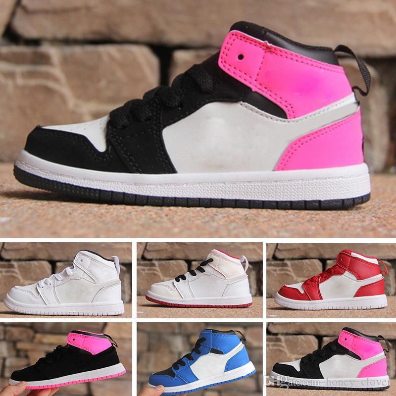 newest a0c8f 6ce07 Großhandel Nike Air Jordan 1 Retro NEUE Jungen Mädchen Basketball Schuhe  KIDS Athletic 1 SneakersDunkelblau Rot 1s Weaving Sneaker Jugend Kinder  Sportschuhe ...