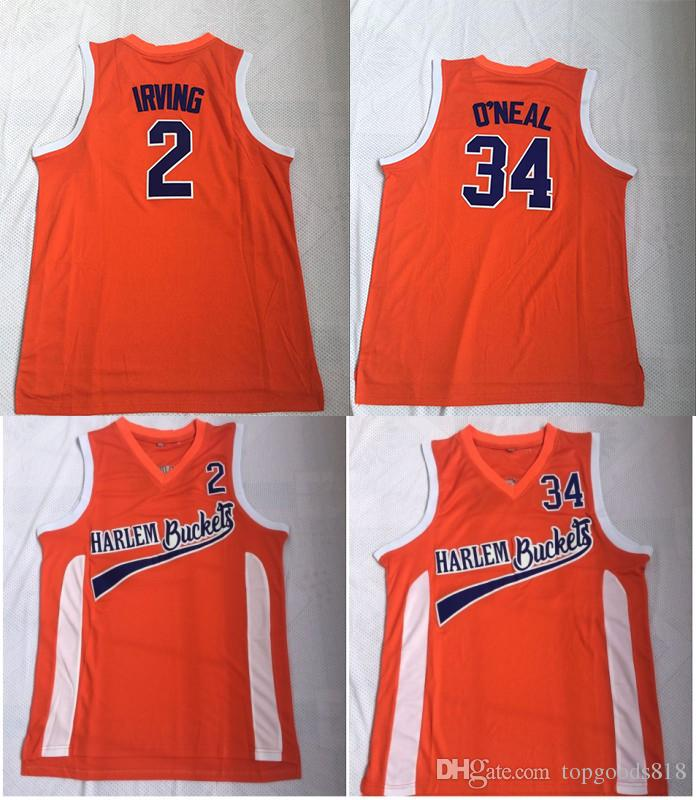 sports shoes 02c04 9b6a7 Uncle Drew Costume #2 Kyrie Irving Jersey Harlem Buckets Movie Film Orange  Mens Stitched #34 Shaquille O Neal Basketball Jerseys ONea Shirts