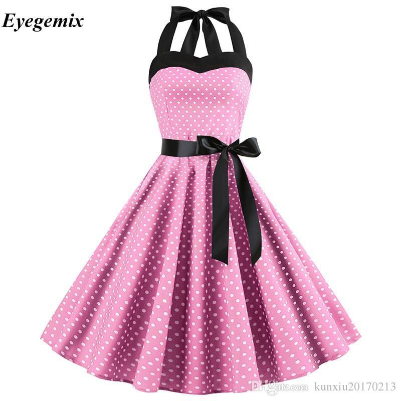 99b20a69201c Sexy Retro Weißes Tupfenkleid 2019 Audrey Hepburn Vintage Halfter Kleid  50er Jahre 60er Jahre Gothic Pin Up Rockabilly Kleid Plus Size