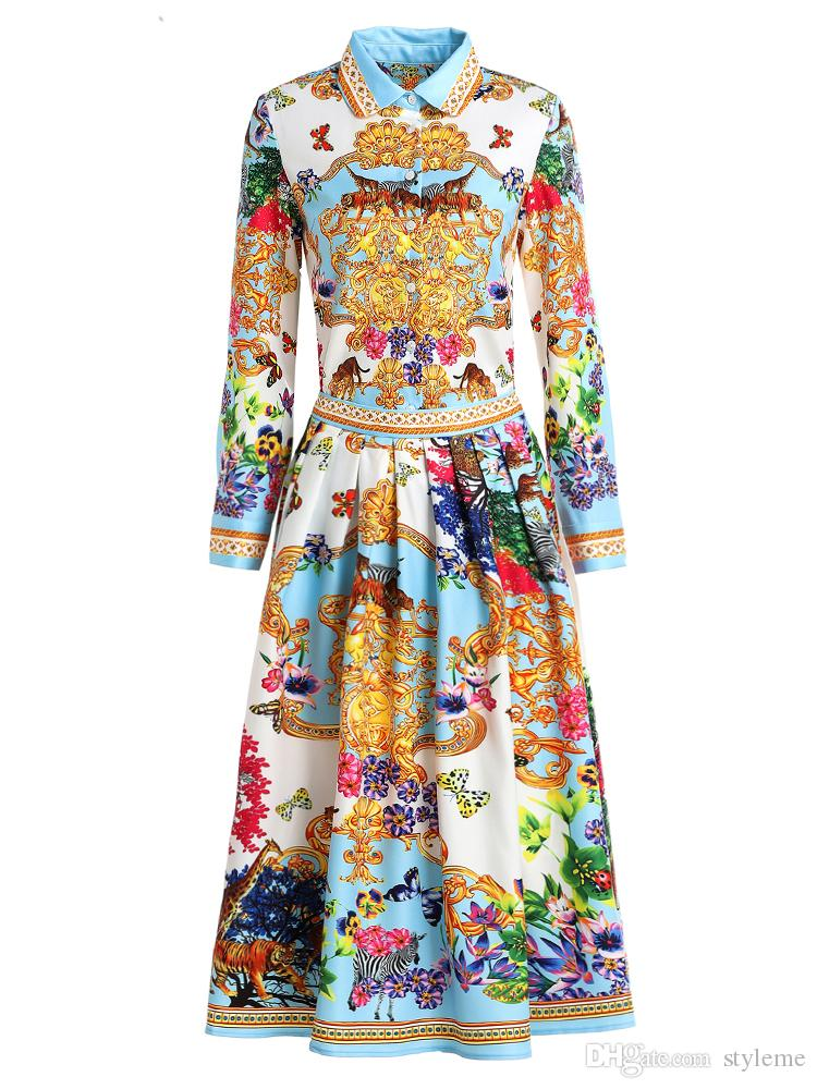 a3f0d8419bcdd Brand Designer Luxury Print Women Dresses 2019 Spring Summer Fashion Turn  Down Collar Long Sleeve Pleated Office Party Dresses Streetwear Online with  ...