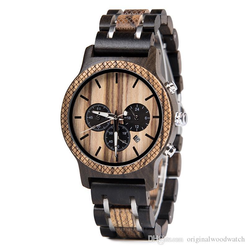 b8a9d1ff3f5 Compre Múltipla Fuso Horário De Madeira Relógios Homens Relógio De Pulso De  Quartzo Cronômetro Presente Para O Sexo Masculino Amigo Em Caixa De Madeira  ...