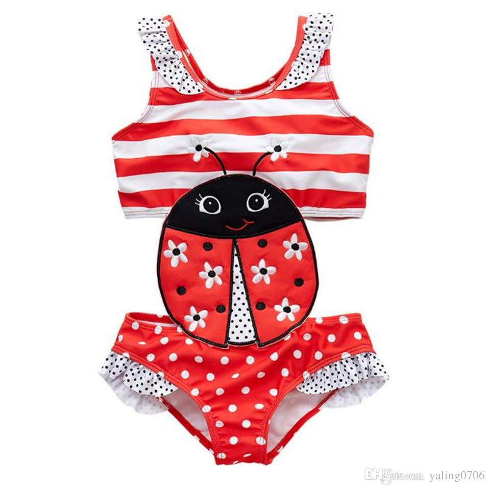 9940f44906 2019 Newborn Baby Girls Bathing Suit Ladybug Embroidery Children Girls One  Piece Patchwork Summer Girls Swimming Wear Banadore Swimwear Clothes From  ...