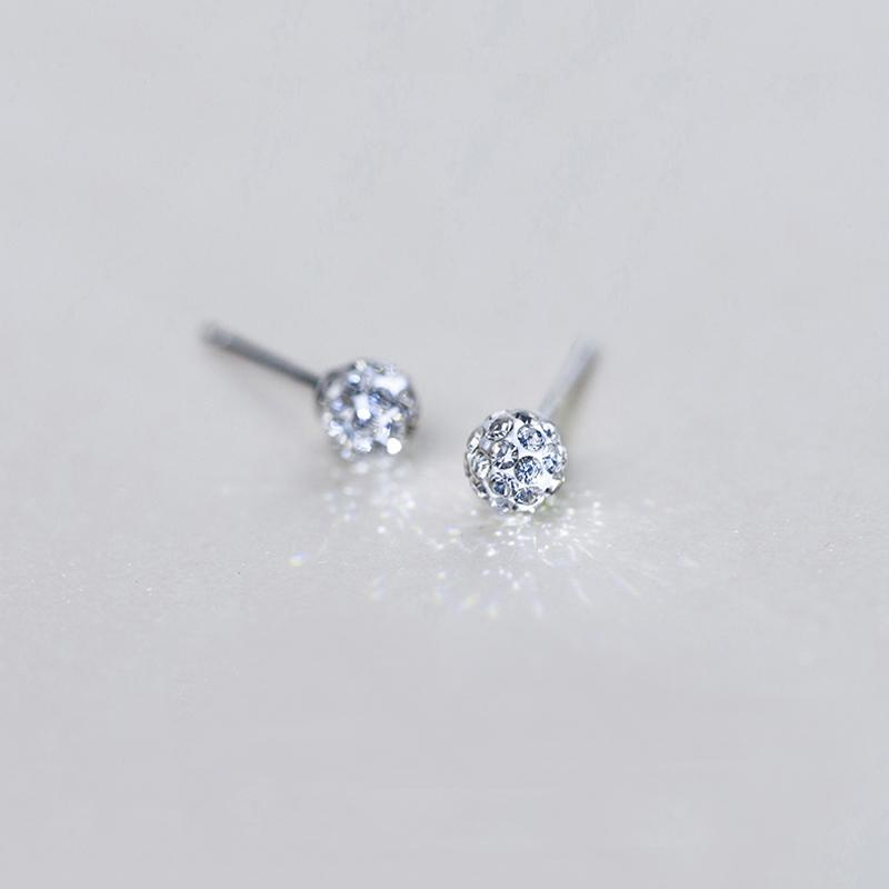 d6d18d4fd Cute Small Round CZ Ball 925 Sterling Silver Stud Earrings for Women ...