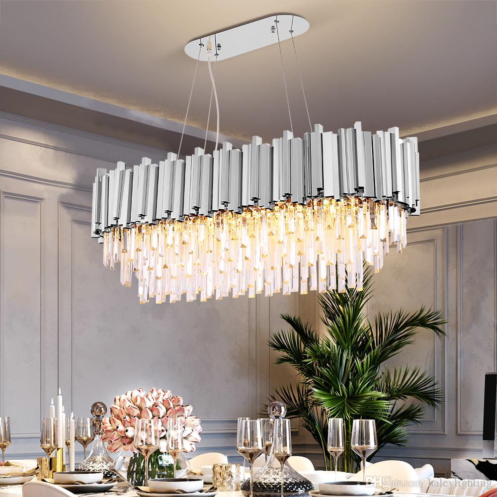 Tremendous Luxury Rectangle Crystal Chandelier For Dining Room Modern Chandeliers Lighting Gold Polished Steel Hanglamp Kitchen Island Lamp Download Free Architecture Designs Madebymaigaardcom