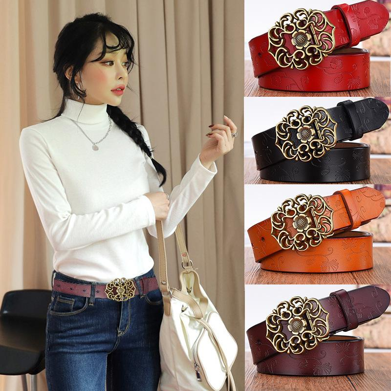 cf6442a31b5e4 Acquista Cinture In Pelle Da Donna Ladies Vintage Western Design Cintura  Pantaloni Jeans Larghezza Abiti 3.3CM Lunghezza 110CM A  8.13 Dal Amybabe
