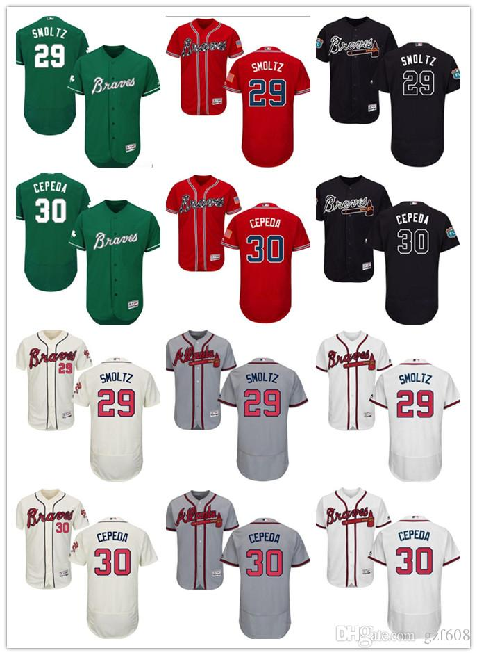 save off 85bbc e8d73 custom Men's women youth Atlanta Braves Jersey #30 Orlando Cepeda 29 John  Smoltz Home Blue Red Grey White Baseball Jerseys