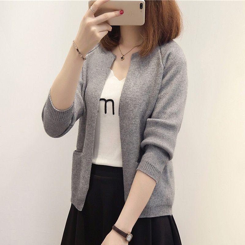 new spring Autumn fashion elegant loose knitting cardigan sweater coat
