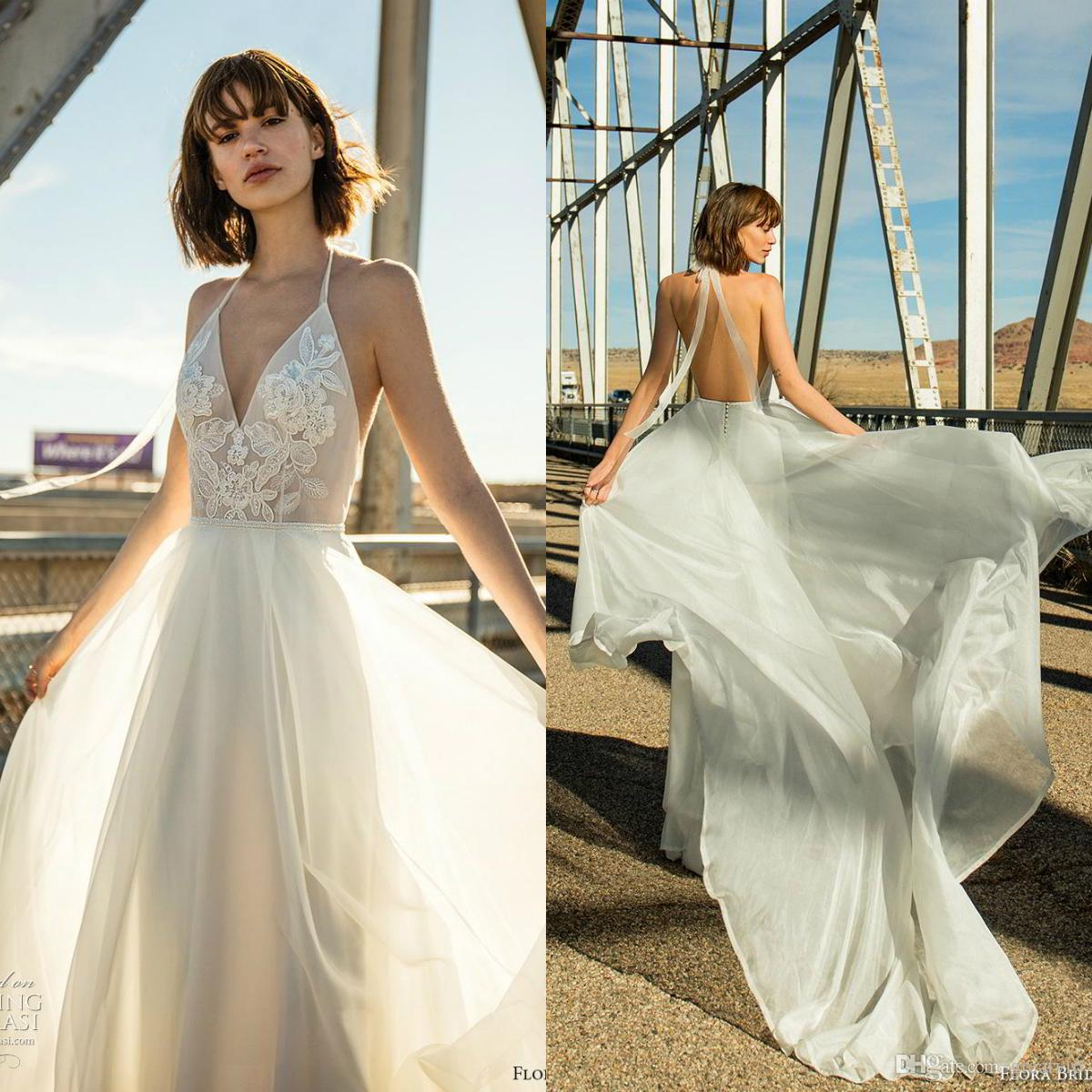 Floral 2019 Halter Beach Wedding Dresses Appliques Backless Chiffon Bridal  Gowns Plus Size Bohemia Wedding Dress robe de mariée